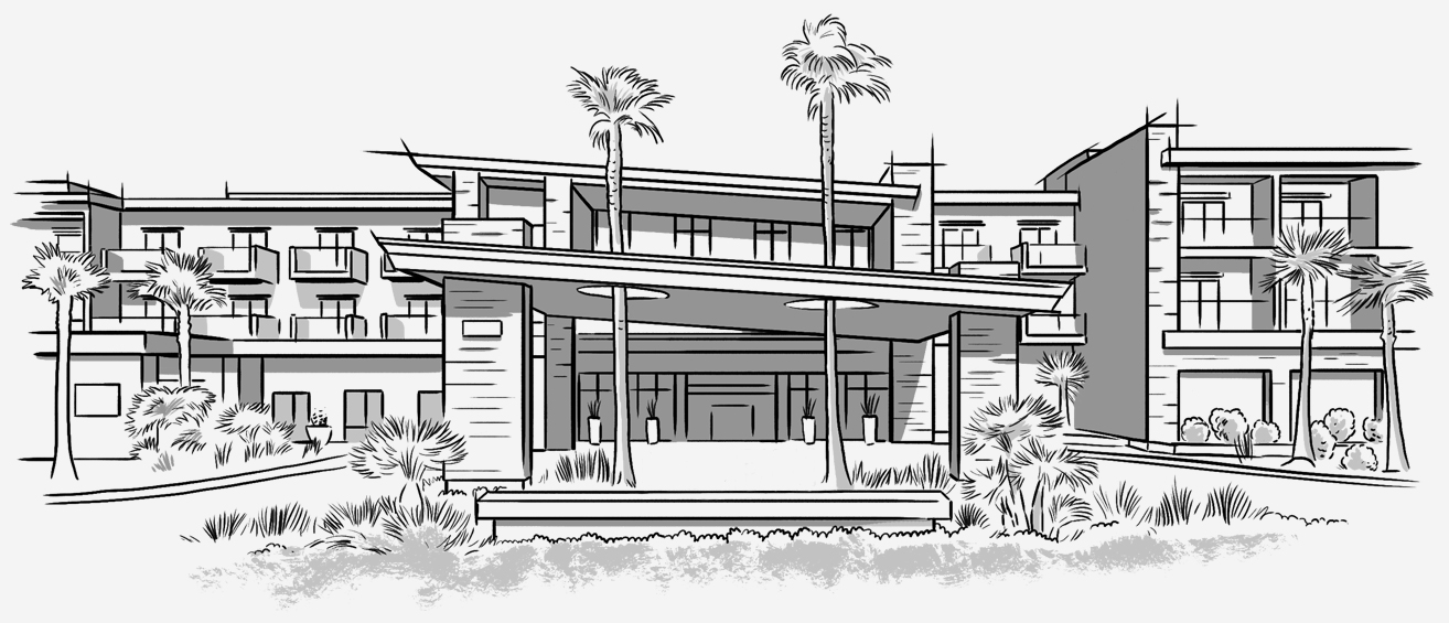 Illustration of hotel building wtih palm trees